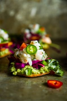 Shrimp Ceviche Tostadas by @heatherchristo. I can't HANDLE the gorgeousness!