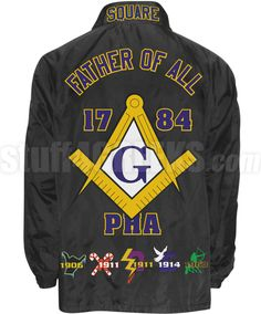 """Deluxe Mason Line Jacket with Embellished Square & Compasses and """"Father of All"""" On Back, Black (Includes Front, Sleeve Text, and Back) Masonic Art, Masonic Symbols, Masonic Tattoos, Prince Hall Mason, Compass Icon, Walk In The Light, Eastern Star, Business Checks, Freemasonry"""