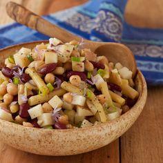 Three bean and potato salad, gluten-free & vegan! Kraft Foods, Kraft Recipes, Vegan Gluten Free, Vegan Vegetarian, Vegetarian Recipes, Dairy Free, Vegan Meals, Vegan Food, Real Food Recipes