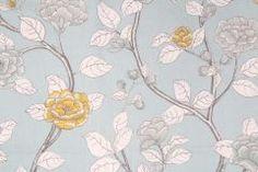 6.3 Yards Leda Peony Printed Cotton Drapery Fabric in Aquatint
