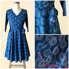 Indigo Hand Block Printed Boho Cotton Wrap Dress