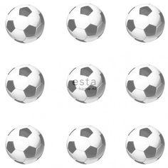 138829 HD vliesbehang voetballen zwart en wit