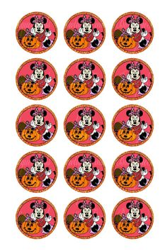 "INSTANT DOWNLOAD. Halloween Minnie Digital Images (15 per Sheet) 1"" Bottle Cap Images. U PRINT.. on Etsy, $0.99"