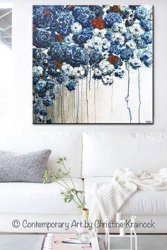 Für immer in meinem Herzen 36 x 36 große abstrakte blau weiß Floral Originalgemälde. Brandneu, strukturiert und blauen Blüten, Mohn, Pfingstrosen, rote Rosen Wohnkultur von Pinsel & Spachtel. ATEMBERAUBENDE, Küsten-, bildende Kunst, mit atemberaubenden Details in den Farben Marineblau, Saphir, hellblau, Türkis, rot, weiß, grau, Taupe. Galerie Kunst auf Leinwand, Wandkunst, Wohnkultur. Mischtechnik Acryl-Malerei auf 36x36x1.5 Galerie gewickelt Leinwand. Von Hand bemalt, eine Art Galerie Ku...