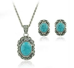 Turquoise Jewelry Sets Old Silver Plating Alloy Material European Style Wedding Ornament  Vintage   Antique LM-S011 #Affiliate