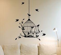 Birdcage and Birds Wall Sticker