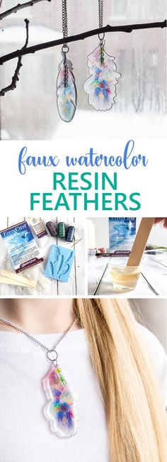 These DIY resin feather pendants are a fun way to add a little nature to your wardrobe. With a faux watercolor effect, these pretty and earthy pendants would make the perfect boho style accessory. via upcycled crafts Faux Watercolor Resin Feather Pendants Upcycled Crafts, Diy Resin Crafts, Diy Jewelry To Sell, Jewelry Crafts, Handmade Jewelry, Jewelry Making, Boho Stil, Crafts To Make And Sell, Sell Diy