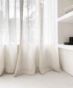 We found the softest of European linens for our linen drapes, custom-made for you. Recently we installed these ones at the fine store where they look amazing in the serene ambiance Eveline created. Get in touch for more info, we're happy to help! Sheer Linen Curtains, White Curtains, Curtains With Blinds, Drapery, Silk Drapes, Theoule Sur Mer, Bunk Bed With Desk, Casamance, Curtains Living