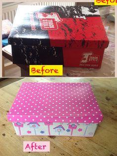 Old shoe box paper and pak en plak.