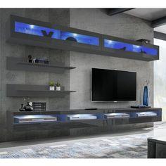 Dream Home Design, House Design, Floating Entertainment Center, Living Room Tv Unit Designs, Bedroom Tv Unit Design, Tv Wall Design, Living Room Decor, Family Room, New Homes