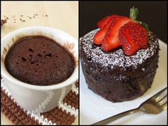 Whole wheat chocolate cake in a mug. One person treat!