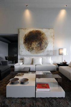 Nice position for the lights #livingroom  interior design, sofas, flooring, ceiling, lighting, rugs, coffee tables, art in the living room #decorating loft wallpaper