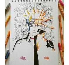 Naruto and boruto. But naruto is better Naruto Shippuden Sasuke, Naruto Oc, Anime Naruto, Manga Anime, Naruto Painting, Uzumaki Boruto, Naruto Drawings, Naruto Family, Image Manga