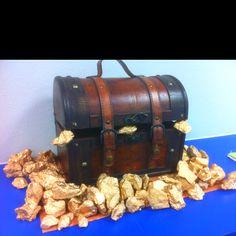 Classroom Treasure Box!  Hobby Lobby chest and golden spray painted concrete chunks.
