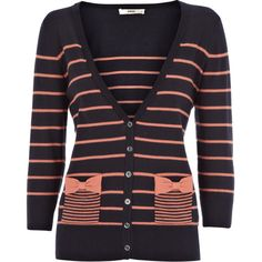 Stripe and Bow Pocket Cardigan found on Polyvore