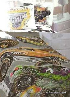 monster truck bedding | Monster Jam Trucks Twin Bedding Blanket Sheets Drapes Throw Pillow ...