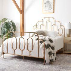 Room Ideas Bedroom, Bedroom Bed, Art Deco Bedroom, Midcentury Bedroom Decor, Gold Bedroom Decor, Vintage Bed Frame, Full Bed Frame, Simple Bed Frame, Bed Frame With Headboard