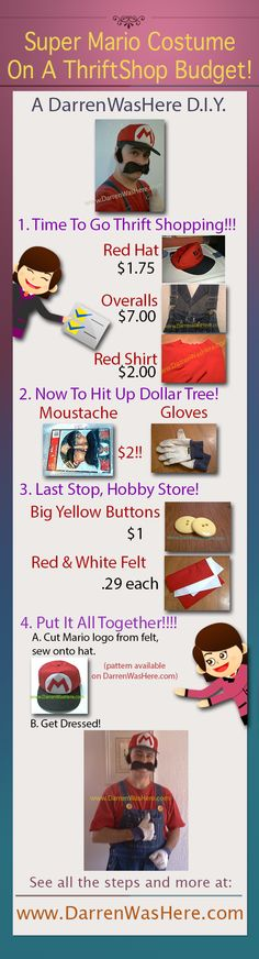 How To Make A Thriftshop Super Mario Brothers Costume DIY for $15 or less!