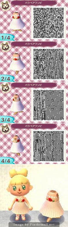 White elegant sleeveless dress with pearls and red flowers details. - Animal Crossing New Leaf QR Codes