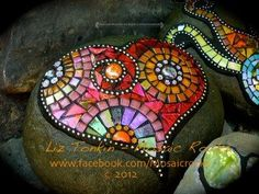 Glass mosaic on rock.Made by Liz Tonkin Tile Art, Mosaic Art, Mosaic Glass, Mosaic Tiles, Gaudi Mosaic, Mosaic Crafts, Mosaic Projects, Mosaic Designs, Mosaic Patterns