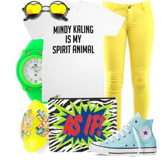Mindy Kaling is my Spirit Animal by leslieakay on Polyvore featuring polyvore fashion style Converse Glam Rock Alexis Bittar neon mindykaling