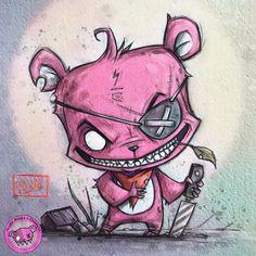 Scary Beary - Up to no good - art print Graffiti Art Drawings, Scary Drawings, Graffiti Wall Art, Graffiti Lettering, Cartoon Sketches, Cartoon Art, Art Sketches, Grey Tattoo, Tattoo Ink