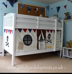 Create a secret hideaway to inspire Pirate Decor, Pirate Theme, Bunk Bed Tent, Bunk Beds, Pink Bunting, Secret Hideaway, Princess Castle, Creative Play, Imaginative Play
