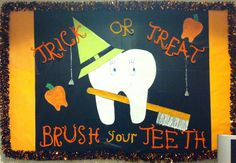 I made this(: Halloween Dental Hygiene Bulletin Board