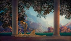"""Daybreak,"" Maxfield Parrish, 1922, oil on board, 26½ x 45, National Museum of American Illustration, Newport, RI. Daybreak was to be his first work commissioned solely for the purpose of reproduction as a color lithographic print to be distributed to the American public and would become one of the most reproduced paintings in American history. It was estimated that one of every four households had a copy of the work, making it a national sensation and cultural phenomenon."