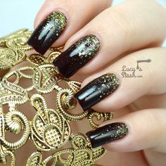 Gold Glitter Gradient Nail Art with Video Tutorial