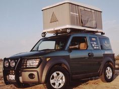 Honda Element with Maggiolina roof top tent Top Tents, Roof Top Tent, Truck Camping, Go Camping, Honda Element Camping, Truck Bed Tent, Hammock Tent, Hammocks, Tent Campers