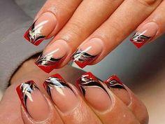 Nails for football season #RedandBlack #naildesigns #Falcons #Bulldogs #uga