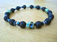 Men's Rocker Bracelet with Semi Precious Matte Onyx by tocijewelry