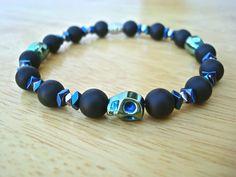 Men's Rocker Bracelet with Semi Precious Matte Onyx by tocijewelry