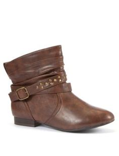 Brown Stud Strap Ankle Boots - Must have!
