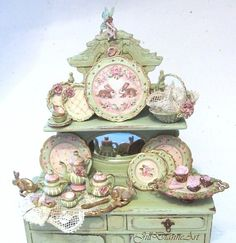 Rabbits n Roses Dish Set with antique lace door JillDianneArt, $435.00
