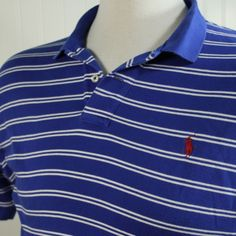 Polo by Ralph Lauren XL Royal Blue White Stripe Red Pony Cotton Knit Polo Shirt #PolobyRalphLauren #PoloRugby