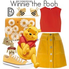Disney Costumes Winnie the Pooh // red tank / yellow skirt/shorts / yellow shoes / bee jewelry Disney Bound Outfits Casual, Disney Themed Outfits, Disney Dresses, Cute Outfits, Disney Clothes, Disney Mode, Disney Disney, Karneval Outfits, Disneybound Outfits
