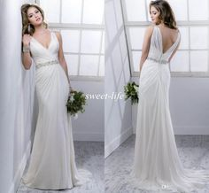 2016 Summer Beach Wedding Dresses Backless Sheer Deep V Neck Beads Chiffon Covered Button Sleeveless Sheath Sexy Garden Wedding Bridal Gowns Online with $116.03/Piece on Sweet-life's Store | DHgate.com