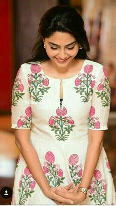 Aiswarya Laxmi - All About Simple Kurta Designs, Silk Kurti Designs, Salwar Neck Designs, Kurta Neck Design, Neck Designs For Suits, Sleeves Designs For Dresses, Fancy Blouse Designs, Kurta Designs Women, Dress Neck Designs