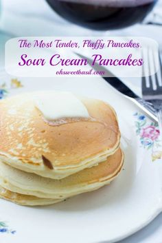 The fluffiest, softest, most delicious #panakes you can make from home, Sour Cream Pancakes. #breakfast is served! ohsweetbasil.com