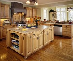 rustic villa natural Maple cabinetry. kitchen with warm gold tones