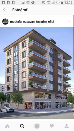 Modern Apartment Design, Apartment Layout, Building Facade, Building Design, Town House Floor Plan, Concrete Facade, Apartment Projects, Exterior Design, Modern Architecture