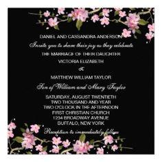 Black Japanese Cherry Blossoms wedding invitation.