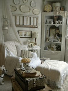 This Shabby Chic Inspiring Room Gives Us Lots of DIY Decor Ideas!  See More at thefrenchinspiredroom.com