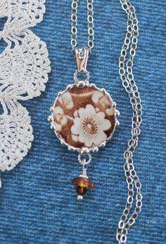 Necklace Broken China Jewelry Broken China by Robinsnestcreation1