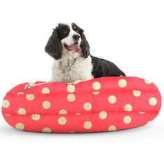 The Medium DogSack Round Memory Foam Pink/ White Polka-dots Twill Pet Bed *** Read more reviews of the product by visiting the link on the image. (This is an affiliate link and I receive a commission for the sales)