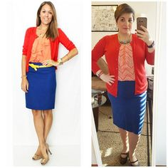 #ChubbyChique 3-11-2016 #ootd #beYOUtiful16 #march2016pinneditspinnedit @aem8168 @jro1583 Blue skirt, coral blouse and red cardigan inspiration from @jseverydayfashion