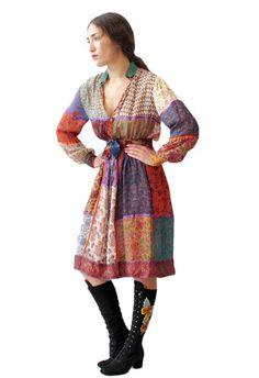 Pamela Patchwork Silk Indian Dress