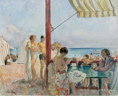 Cafe on the Beach - Henri Lebasque  French 1865-1937